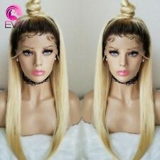 Straight Long Blonde Hair. Dark  Root Lace front Wig. Beauty Human