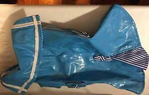 Snooty Dog Coat Blue Boating Sailing Slicker Striped Kickpleat Lining 10-14 inch