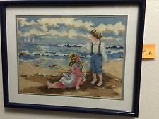"Vintage Hand Made Needlepoint Framed Children At The Beach 20 X 16""  2A4816"