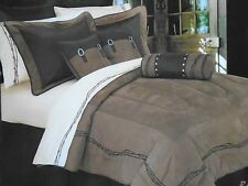 NEW HIEND ACCENTS BARBWIRE BROWN WESTERN 5 PIECE TWIN COMFORTER SET