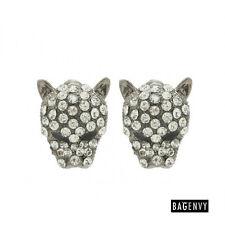Bag Envy Ladies Sparkling Silver & Clear Diamante Gem Cluster Panther Earrings