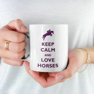 KEEP CALM AND LOVE HORSES MUG EQUESTRIAN FREE P&P CHRISTMAS