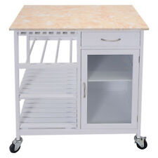Kitchen Rolling Cart Faux Marble Top Island Serving Utility W/Cabinet Portable