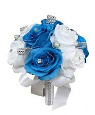 "8"" Bouquet : Malibu Turquoise and White with bling rhinestone"
