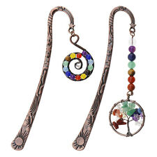 More details for 2pcs 7 chakra beaded spiral & tree of life charms bookmarks for readers