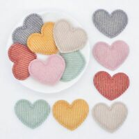 50pcs/lot 35*30mm Padded Glitter Cloth Heart Appliques For Hat Clothes Leggings