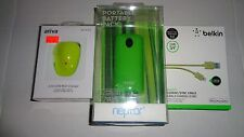 Green Neptor 2 Port Battery Pack Charger Smartphone,iPad,iPhone 5,6 Cable Bundle