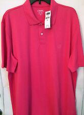 CHAPS Mens Short Sleeve Dark Pink Polo Golf Shirt Sz 100% Polyester XL NWT