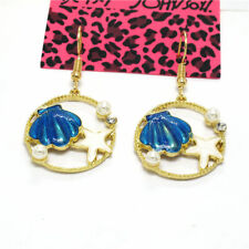 Blue Enamel Cute Starfish Shell Betsey Johnson Women Stand Earrings
