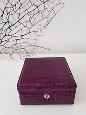 DULWICH jewellery box purple leather, inside suede: New