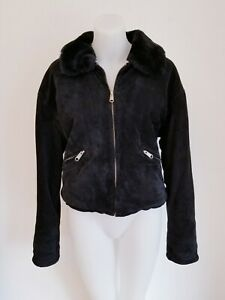 BB DAKOTA for BP NORDSTROM Suede Jacket with Faux Fur Lining, Black, SMALL