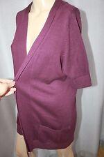 Ladies short sleeve purple size M Wallis cardigan fine knit 10-12
