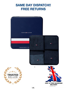 Tommy Hilfiger Socks 4 Pairs in Gift Tin - Navy Mix - UK 9-11 RRP £30 Brand New