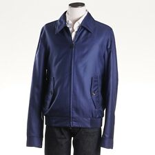 NWT $3375 BRIONI Dark Blue Glen Check Silk Bomber Jacket w/ Leather Details XL