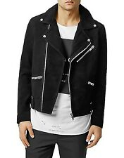 Topman Black Genuine Suede Leather Biker Motorcycle Jacket Coat Men's Size M