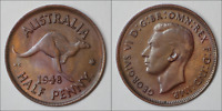 Australia 1948 Y. HalfPenny - Uncirculated UNC - SUPERB COIN (KG37)