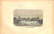 Jardin des Tuileries et Palais du Louvre à Paris France GRAVURE OLD PRINT 1873