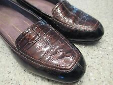 Women's Shoes CLARKS EVERYDAY Size 7 PATENT LEATHER BRONZE CROCO LOAFERS NWOT