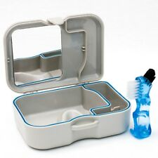 Denture Storage Case Mirror & Brush ~ Dental Appliance Box,  Cleaning Bath
