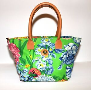 Capezio Green Pink Blue Flowers Canvas with Tan Faux Leather Straps Tote Bag