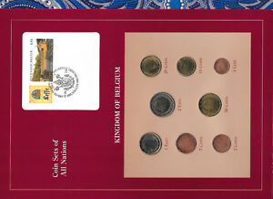 Coin Sets of All Nations Belgium w/card EURO 1999-2002 UNC 1,2 Euro 2002