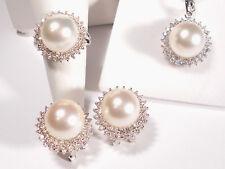 white South Sea pearl set(ring,earrings,pendant),diamonds,solid 14k white gold