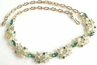 Vintage Unsigned Lisner Green Rhinestones Necklace W Chain Gold Tone