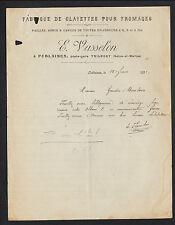"""FUBLAINES / TRILPORT (77) USINE de CLAYETTES pour FROMAGES """"E. VASSELON"""" en 1921"""