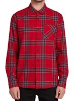 Volcom Mens Shirt Red Small S Modern Fit Caden Plaid Flannel Button Down $60 106
