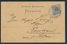 Dt. Reich 2 Pf. Krone Plattenfehler Beleg 1901 Michel 52 I geprüft (S12630)