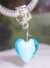 Blue White Glass Heart Dangle Bead fits Silver European Style Charm Bracelets