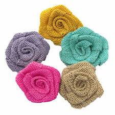 12pcs Burlap Roses Hessian Jute Flower Rustic Vintage Rose for Wedding Party