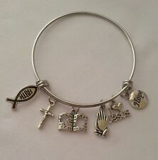 Christian Religious Cross Charm Bracelet Expandable Adjustable Bangle Stainless