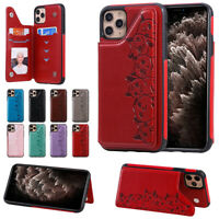For Apple iPhone Protective Phone Case Leather Wallet Card Cover Magnetic Rugged