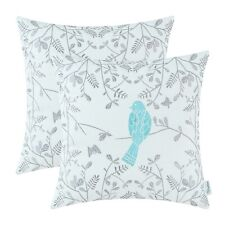 2Pcs Turquoise Pillows Shells Cushion Covers Home Sofa Bird Embroidered 45x45cm
