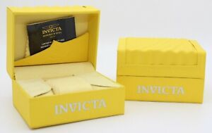 Invicta Yellow Large Watch Box Case Classic Wave Empty Watch Display LOT of 2