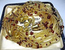 Pretty VINTAGE 1950's Amber & Yellow GLASS BEAD 8 Row Jewellery Choker NECKLACE