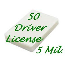 50 Drivers License Laminating Laminator Pouches 2-3/8 x 3-5/8 5 mil Scotch Quali