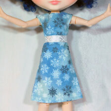 Blue Sparkly Snowflake Dress and White Ribbon Sash - Cute Winter Blythe Outfit
