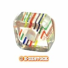 10 Perles Carré verre pop inclusions multicolores 6x10mm