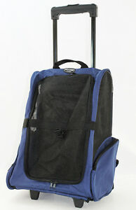Blue Pet Carrier Dog Rolling Backpack Wheel Luggage Travel Airline Bag