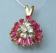 GENUINE NATURAL FACETED RUBY DIAMOND 14K GOLD PENDANT
