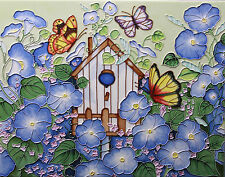 BENAYA ART CERAMIC DECORATIVE TILE - MORNING GLORY BUTTERFLIES