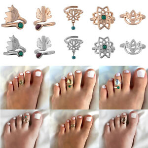 CelebritySilver Flower Toe Rings Women Punk Adjustable Finger Foot Beach Jew.P1