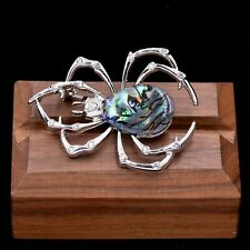 Black Widow Spider Brooch Pin with Sea Abalone Shell