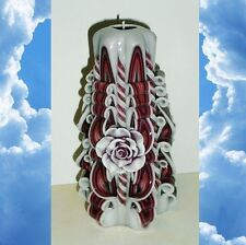 Maroon Rose candle Mother`s day gift Hand Carved candles 6.7 inch/ 17cm