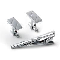 Men Metal Necktie Tie Bar Clasp Clip Cufflinks Set Silver Simple Gift Supply