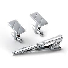 Men Metal Necktie Tie Bar Clasp Clip Cufflinks Set Silver Simple Gift Fashion