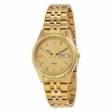 NEW Seiko Solar SNE036 Champagne Dial Men's Stainless Steel Watch MSRP $205