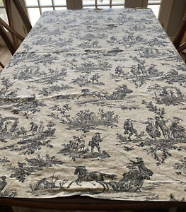 """Williams Sonoma Harvest Black Toile French Country Tablecloth 68"""" x 68"""" Italy"""